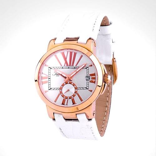 Teiwe Icon TW6013W-B - Rose Gold White Dial White Leather
