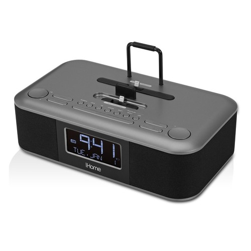 iHome IDL100E  Triple Charging Stereo Dual Alarm Clock Radio - Black