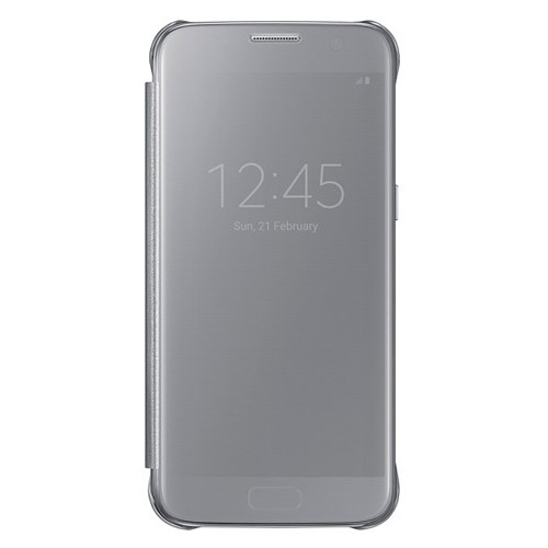 Samsung Clear View Cover For Galaxy S7 Flat - Silver