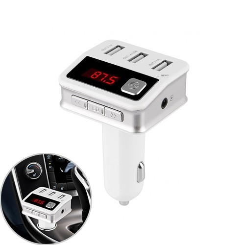 Bluetooth FM Transmitter with 3 USB Charger New Version - White