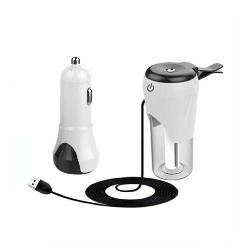 Dual USB Car Charger with Humidifier - White Black