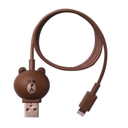 Line Character Cable Lightning - Brown