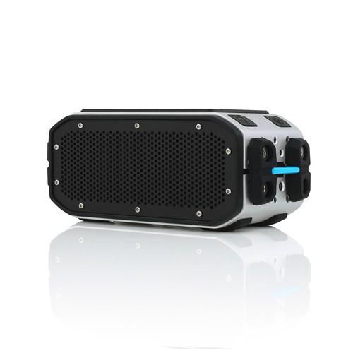 BRAVEN BRV PRO Waterproof Bluetooth Speaker with Solar Panel - Silver/Cyan