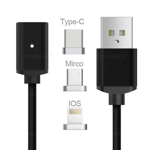 Cable Magnetic 2.4A USB Nylon 3 in 1 with LED Indicator - Black