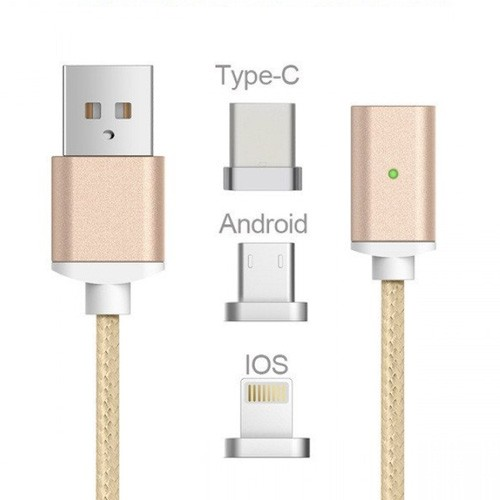 Cable Magnetic 2.4A USB Nylon 3 in 1 with LED Indicator - Gold