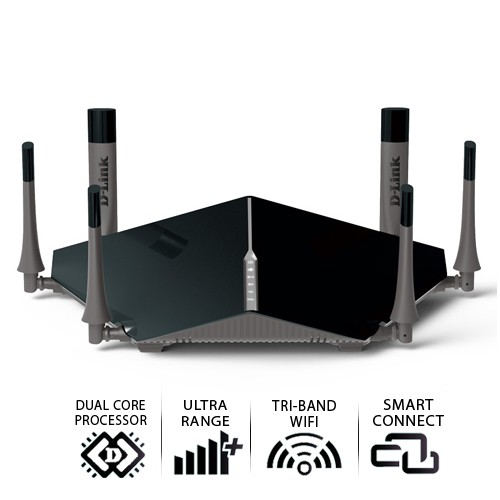 D-Link AC3200 Tri Band Gigabit Cloud Router Wi-Fi DIR-890L - Black