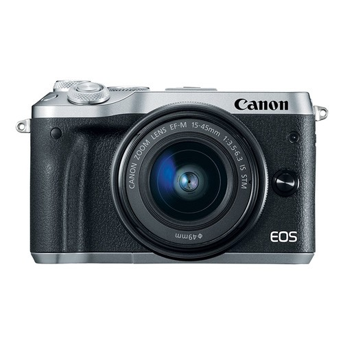 Canon EOS M6 Mirrorless Digital Camera with EF-M15-45mm Lens - Silver