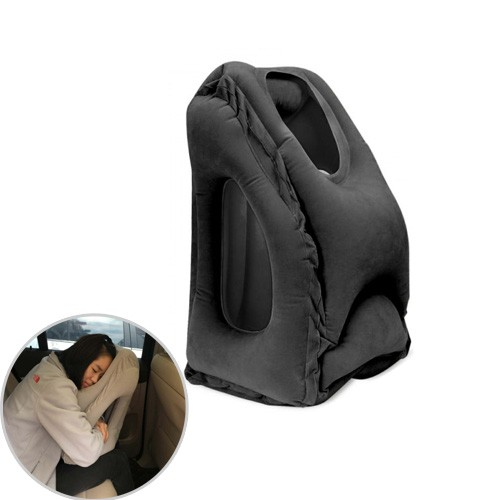Inflatable Air Cushion Neck Support Pillow Travel Camping Nap - Black