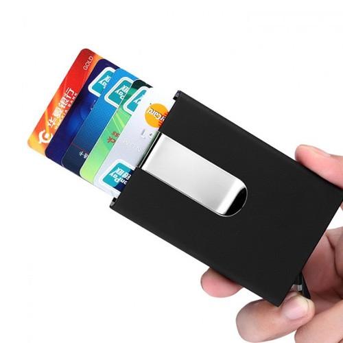 Pop Up Aluminimum Business Card Holder with RFID Blocker - Black
