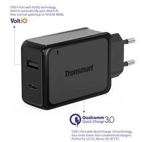 Tronsmart Dual Port Wall Charger USB-C with Quick Charge 3.0 (EU Plug) TS-W2PTE - Black