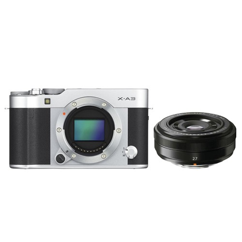 Fujifilm Mirrorless Camera X-A3 Body Only - Silver with XF27mm Lens