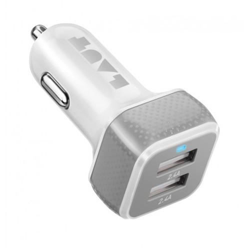 LAUT Powerdash 4.8 Amp Car Charger - White