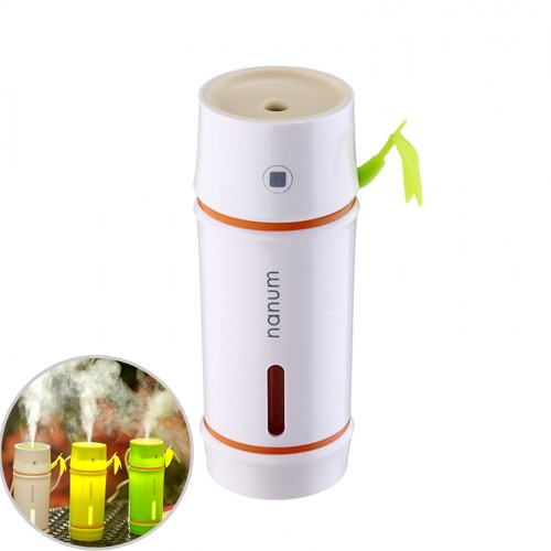 Nanum USB Bamboo Shape 7 Colors LED Light Lamp Car Air Humidifier Aroma Diffuser 130ml - White