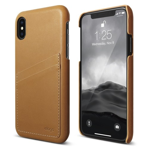 Genuine Leather for iPhone X (FREE TEMPERED GLASS) - Brown