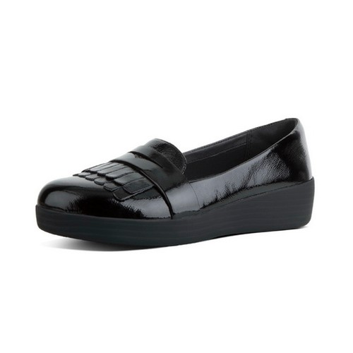 Fitflop Frngy Sneaker Loafer, Black Patent, (8)