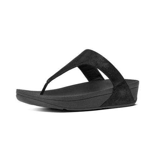 Fitflop Shimmy Suede Toe Post, Black Glimmer, (5)