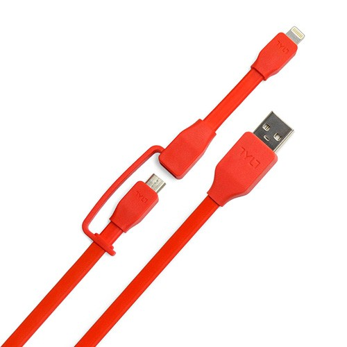 Tylt Syncable Duo Micro USB & Lightning 1M - Red