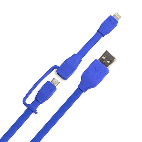 Tylt Syncable Duo Micro USB & Lightning 1M - Blue