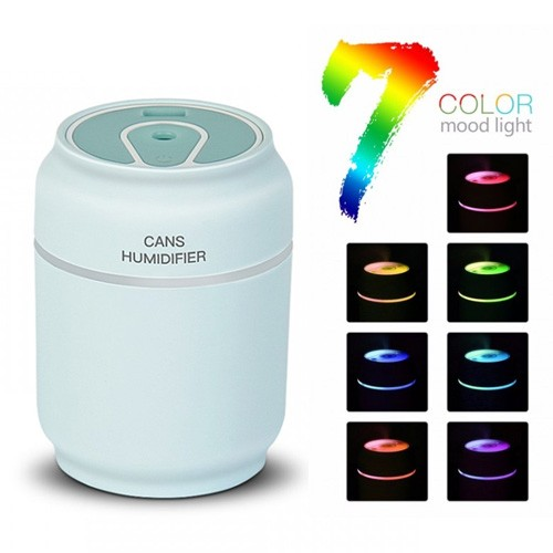 Mini Cute USB Can Shape 3 in 1 Humidifier with 7 Color LED Night Light Diffuser 200ml - Blue