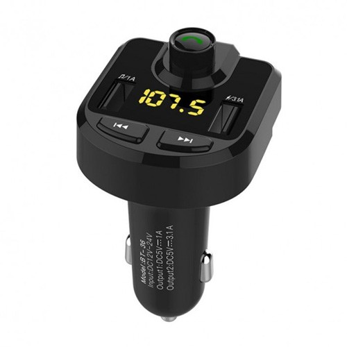 Bluetooth Handsfree Car Kit with FM Transmitter 3.1A with 2 USB Port Charger BT36