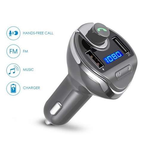 Car Bluetooth V3.0 Handsfree 5V 3.1A with FM Transmitter Car Charger & MP3 Player T20