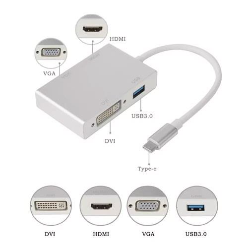 4 in 1 Type C to HDMI VGA DVI USB 3.1 USB-C (USB/DVI/VGA/HDMI)