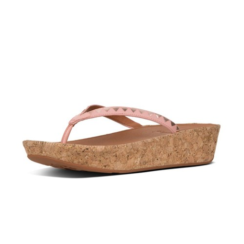 Fitflop Linny Toe Thong Zigzag Mirror, Dusky Pink/Rose Gold, (6)