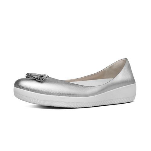 Fitflop Leather Tassel Super Ballerina, Silver, (8)