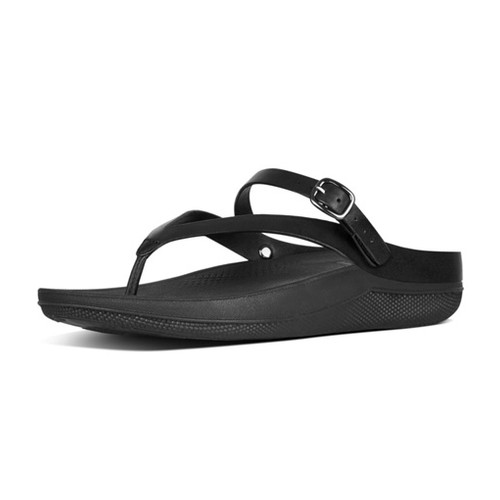 Fitflop Flip Leather Sandals - All Black (8)