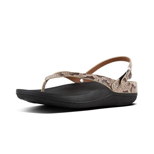 Fitflop Flip Leather Sandals - Taupe Snake (9)
