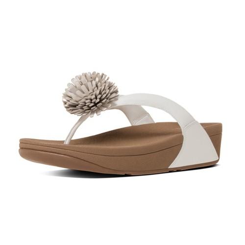 df5113660d8e Fitflop Flowerball Leather Toe Post Women Sandal - Urban White (9)