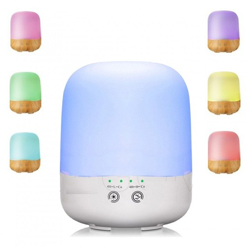 Wooden Humidifier Aroma Diffuser 7 Color LED Light 300ml H19 - White