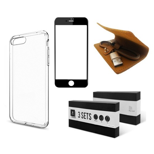 Baseus 3 Sets Charging Protection Suit for iPhone 7 (Tempered Glass + Cable + Case) - Black