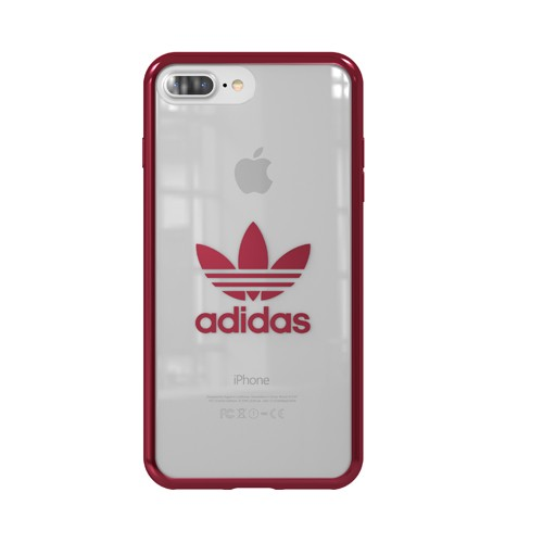 Adidas Trefoil Clear Case for iPhone 8 Plus - Burgundi Logo