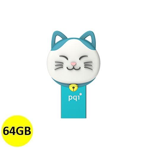 PQI OTG Connect 303 Lucky Cat 64GB - Blue