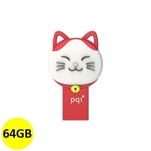 PQI OTG Connect 303 Lucky Cat 64GB - Red