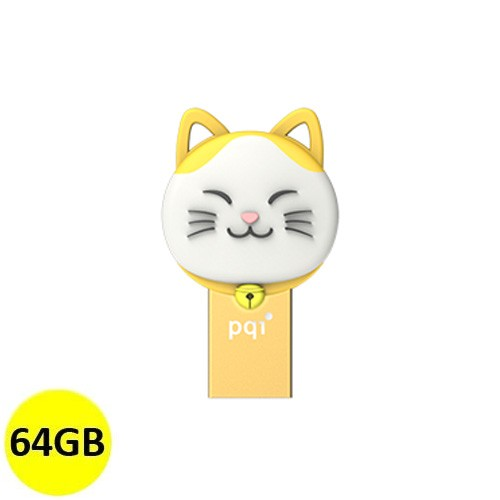 PQI OTG Connect 303 Lucky Cat 64GB - Yellow