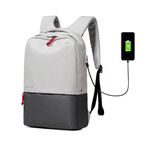 Picano Anti-Theft Backpack with USB Port WB-1601 - Grey