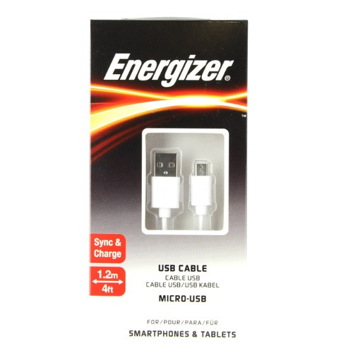 Energizer Micro USB Cable 1.2M TPE Housing Round - White