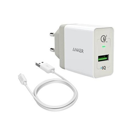 Anker PowerPort+ 1 Quick Charge 3.0 + Micro USB 3ft B2013L21 - White