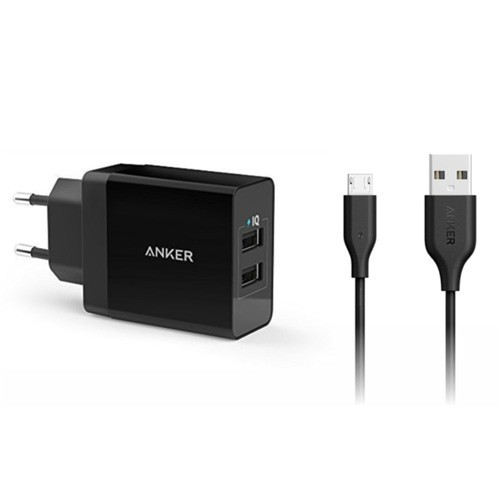 Anker PowerPort 2 Dual Wall Charger + Micro USB 3ft B2021L11 - Black