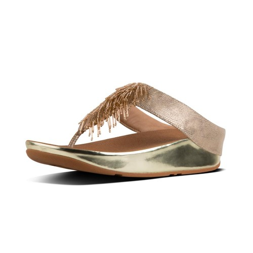 Fitflop Cha Cha Toe-Thong Sandals, Gold Shimmer-Print, (9)