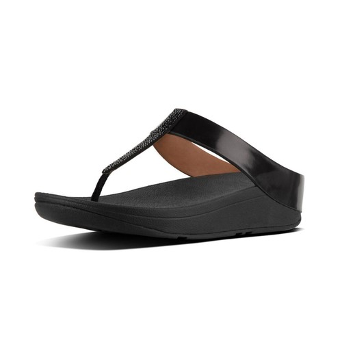 Fitflop Fino Crystal Toe-Thong Sandals, Black, (8)