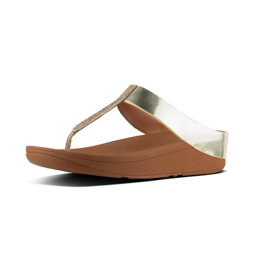 Fitflop Fino Crystal Toe-Thong Sandals, Gold, (7)