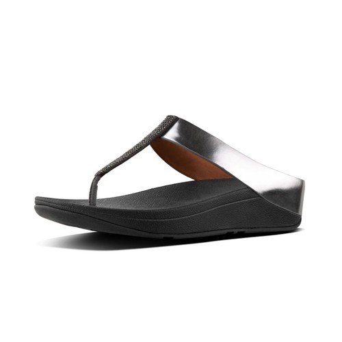 Fitflop Fino Crystal Toe-Thong Sandals, Pewter, (5)