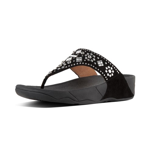 Fitflop Lulu Aztek Stud Toe-Thong Sandals, Black, (5)