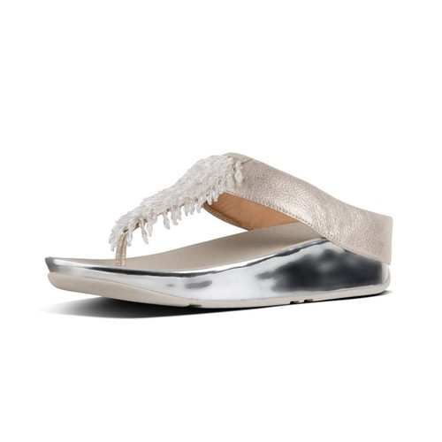 Fitflop Rumba Toe-Thong Sandals - Metallic Silver, (5)