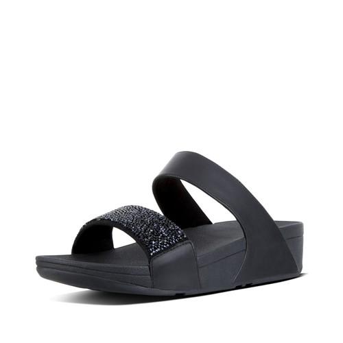 Fitflop Sparklie Crystal Slide, Black, (6)
