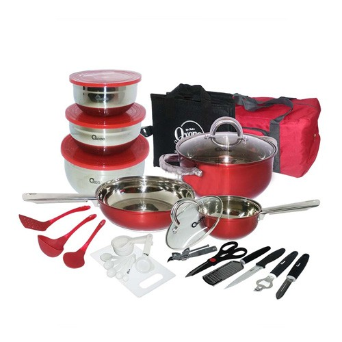 Oxone Travel Cookware Set OX-993 - Red (33pcs)