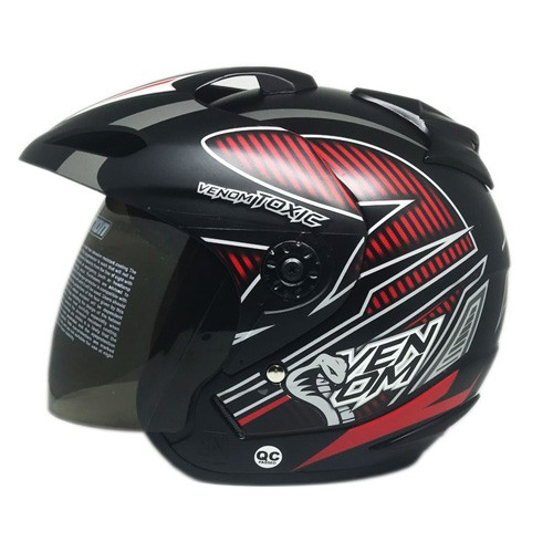 Venom Helm Toxic - Black Doff Red (Silver)